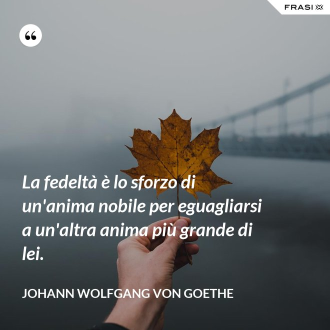 La fedeltà è lo sforzo di un'anima nobile per eguagliarsi a un'altra anima più grande di lei. - Johann Wolfgang von Goethe