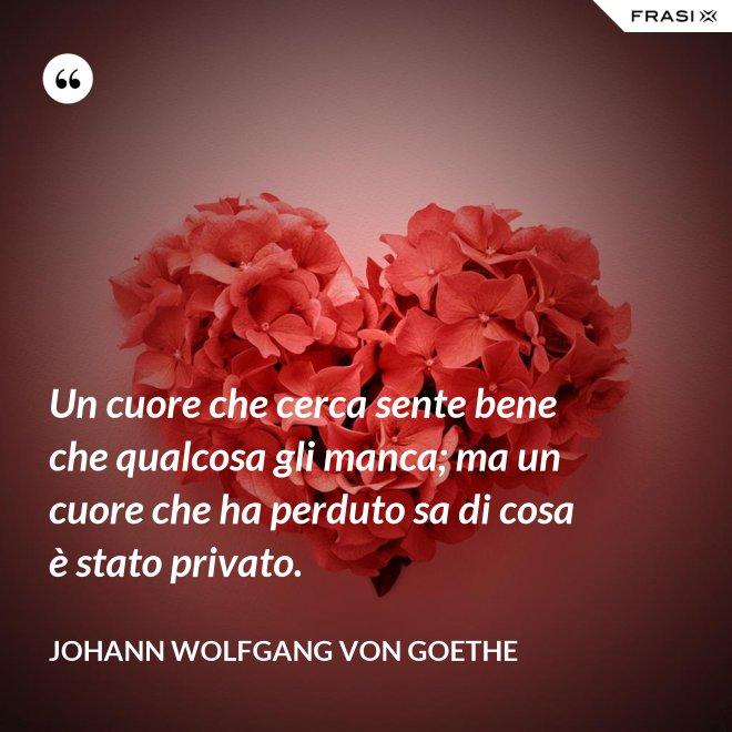 Un cuore che cerca sente bene che qualcosa gli manca; ma un cuore che ha perduto sa di cosa è stato privato. - Johann Wolfgang von Goethe