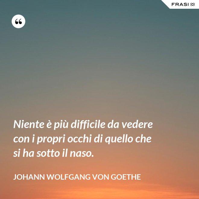 Niente è più difficile da vedere con i propri occhi di quello che si ha sotto il naso. - Johann Wolfgang von Goethe