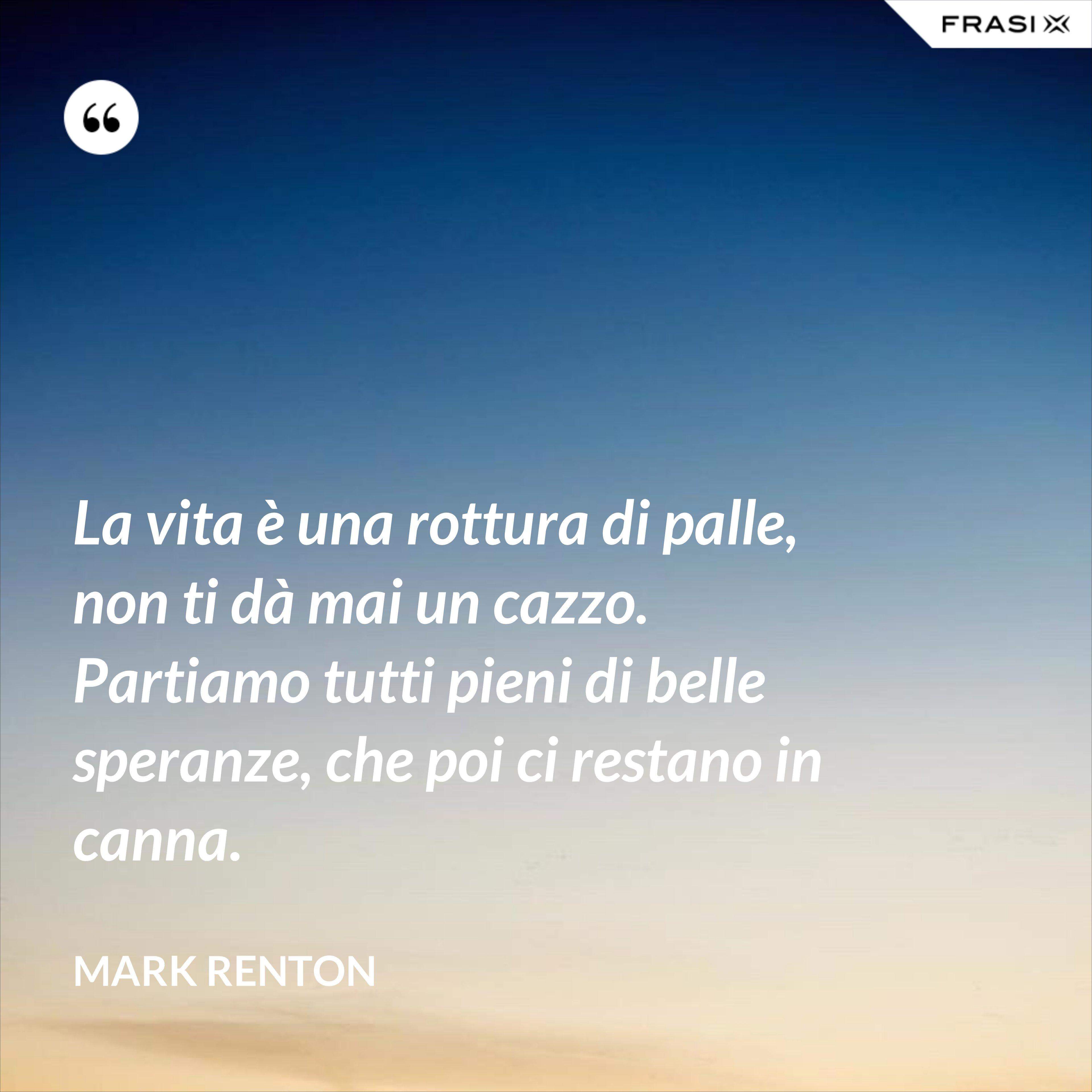 La vita è una rottura di palle, non ti dà mai un cazzo. Partiamo tutti pieni di belle speranze, che poi ci restano in canna. - Mark Renton