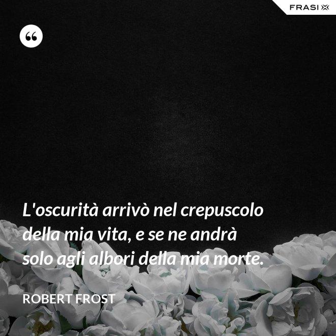 L'oscurità arrivò nel crepuscolo della mia vita, e se ne andrà solo agli albori della mia morte. - Robert Frost