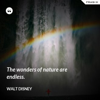 The wonders of nature are endless. - Walt Disney