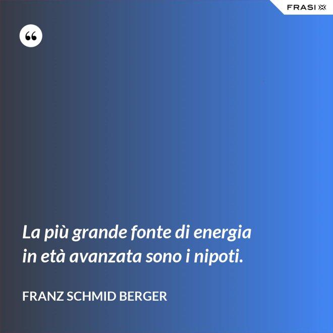 La più grande fonte di energia in età avanzata sono i nipoti. - Franz Schmid Berger