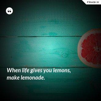 When life gives you lemons, make lemonade. - Anonimo