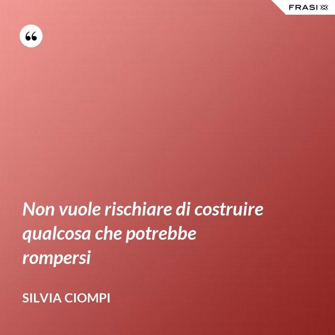 Non vuole rischiare di costruire qualcosa che potrebbe rompersi - Silvia Ciompi