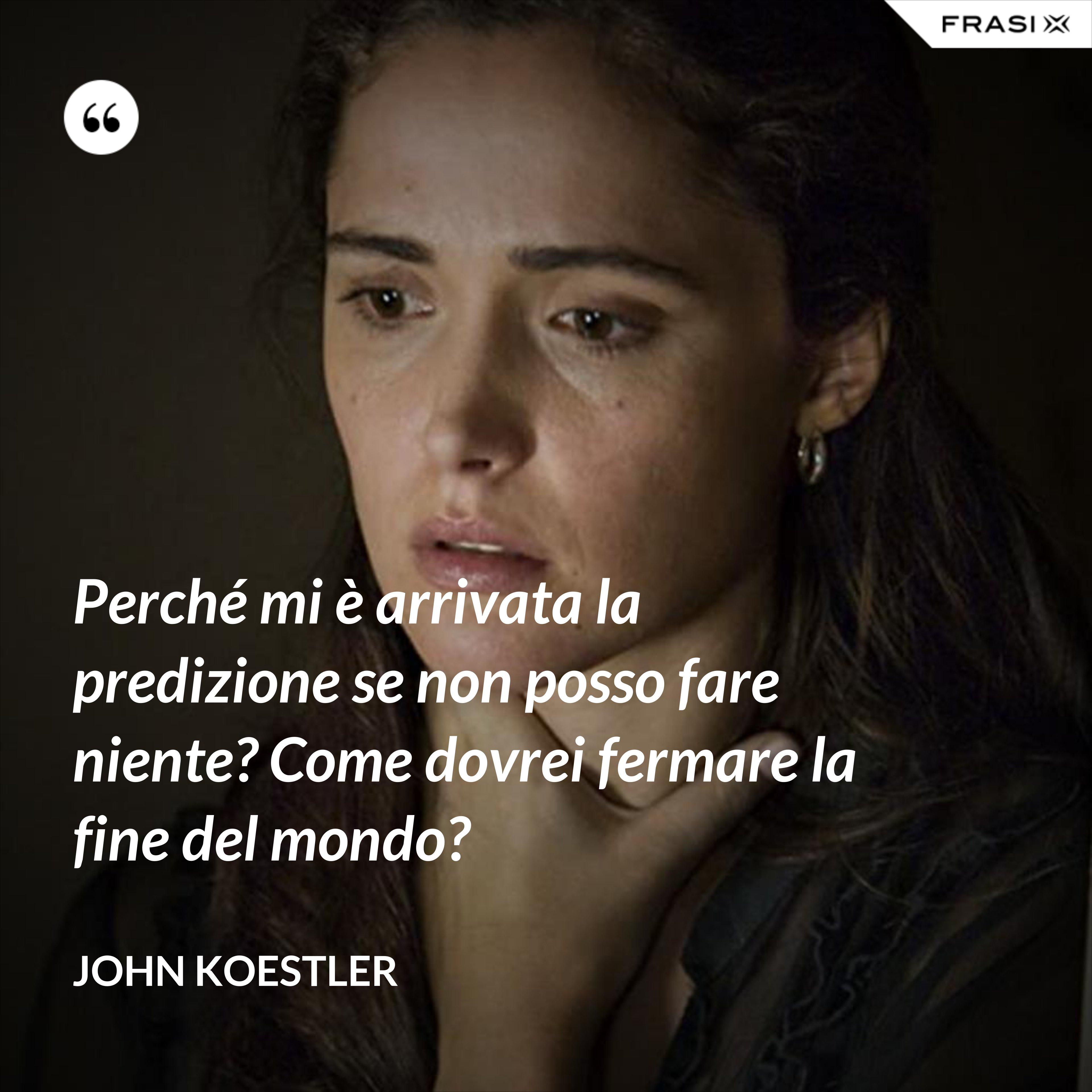 Perché mi è arrivata la predizione se non posso fare niente? Come dovrei fermare la fine del mondo? - John Koestler