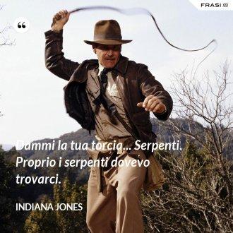 Dammi la tua torcia... Serpenti. Proprio i serpenti dovevo trovarci. - Indiana Jones