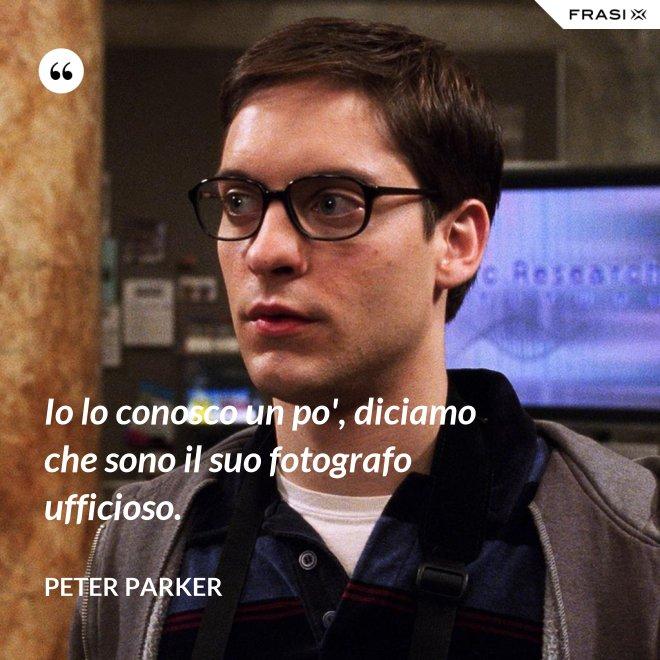 Io lo conosco un po', diciamo che sono il suo fotografo ufficioso. - Peter Parker