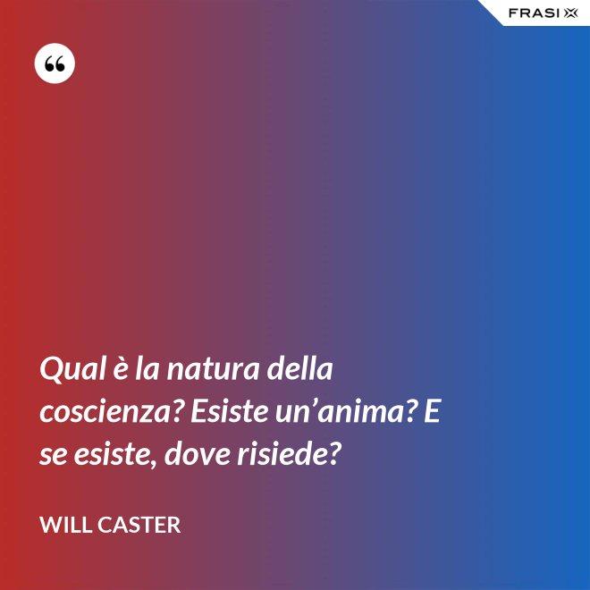 Qual è la natura della coscienza? Esiste un'anima? E se esiste, dove risiede? - Will Caster