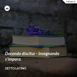Docendo discitur - Insegnando s'impara. - Detto latino