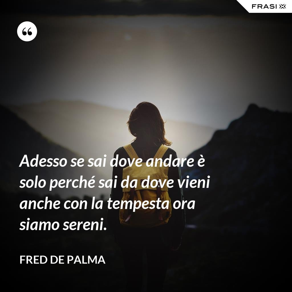 Adesso se sai dove andare è solo perché sai da dove vieni anche con la tempesta ora siamo sereni. - Fred De Palma