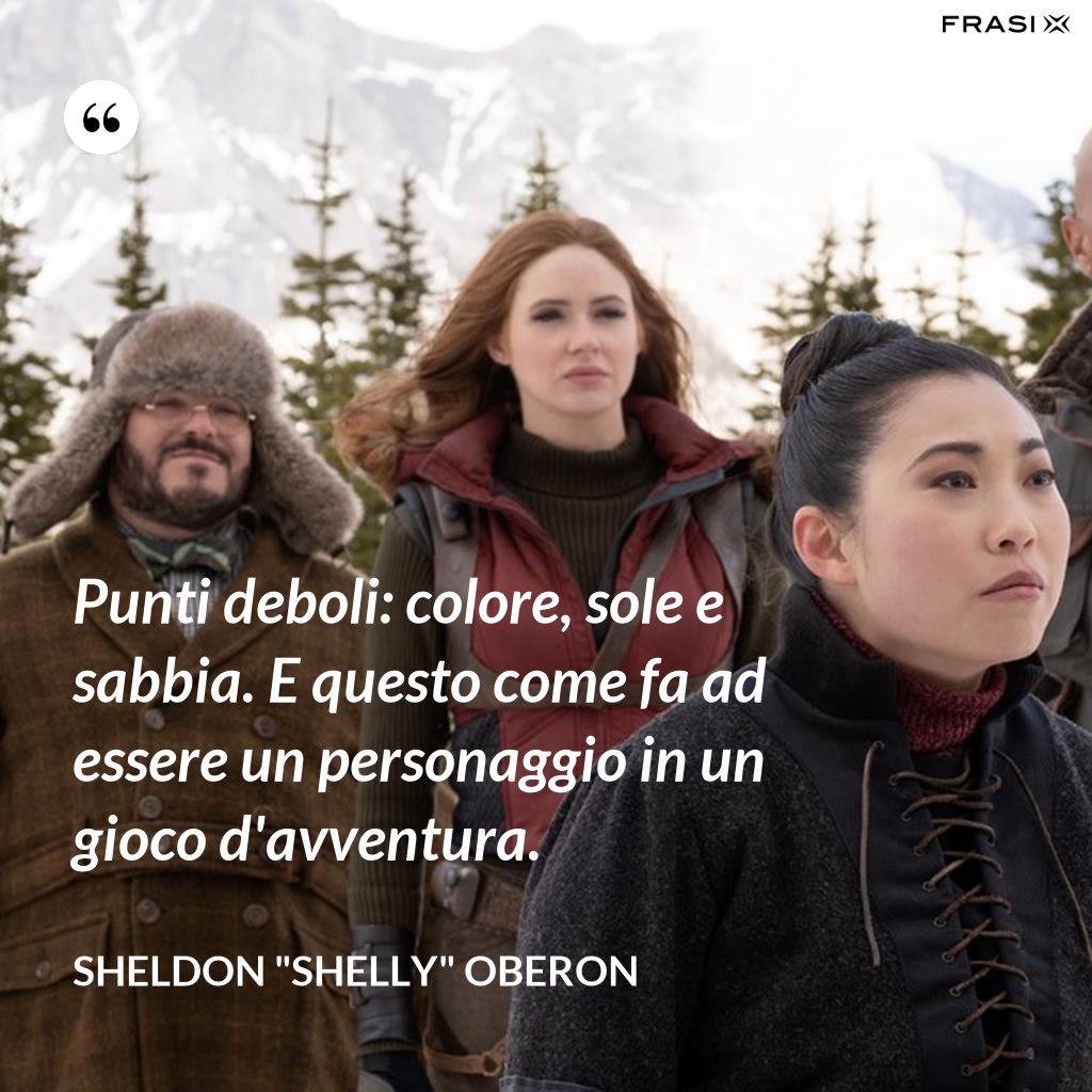 """Punti deboli: colore, sole e sabbia. E questo come fa ad essere un personaggio in un gioco d'avventura. - Sheldon """"Shelly"""" Oberon"""