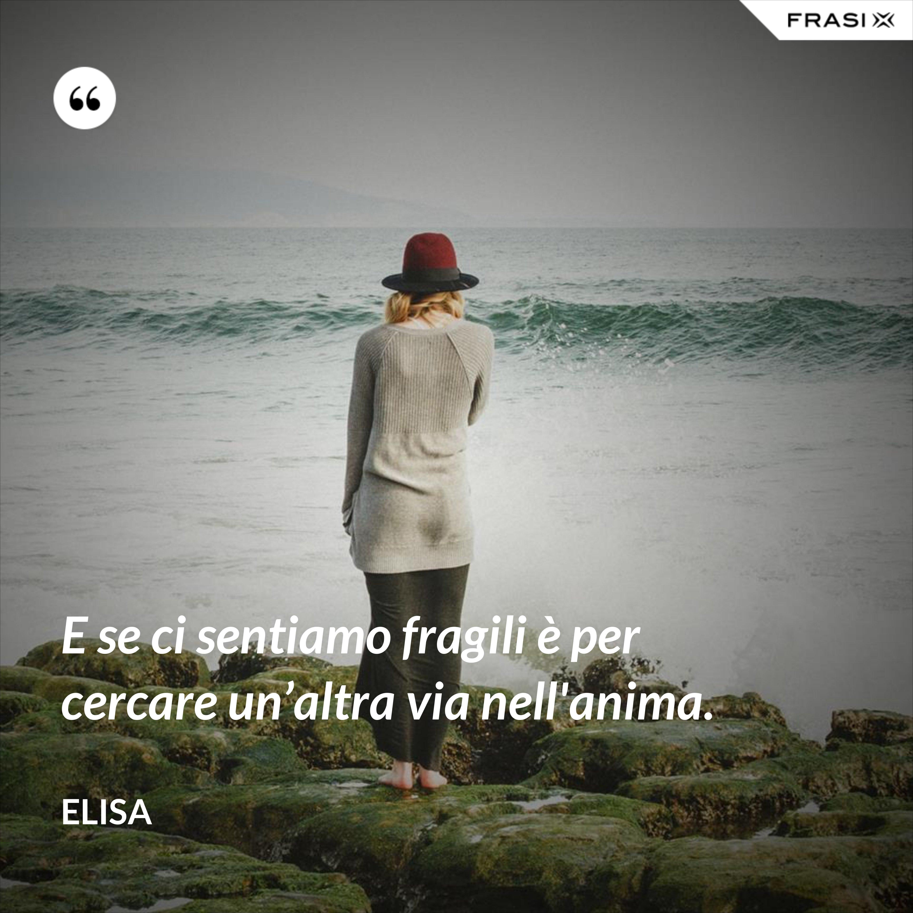 E se ci sentiamo fragili è per cercare un'altra via nell'anima. - Elisa