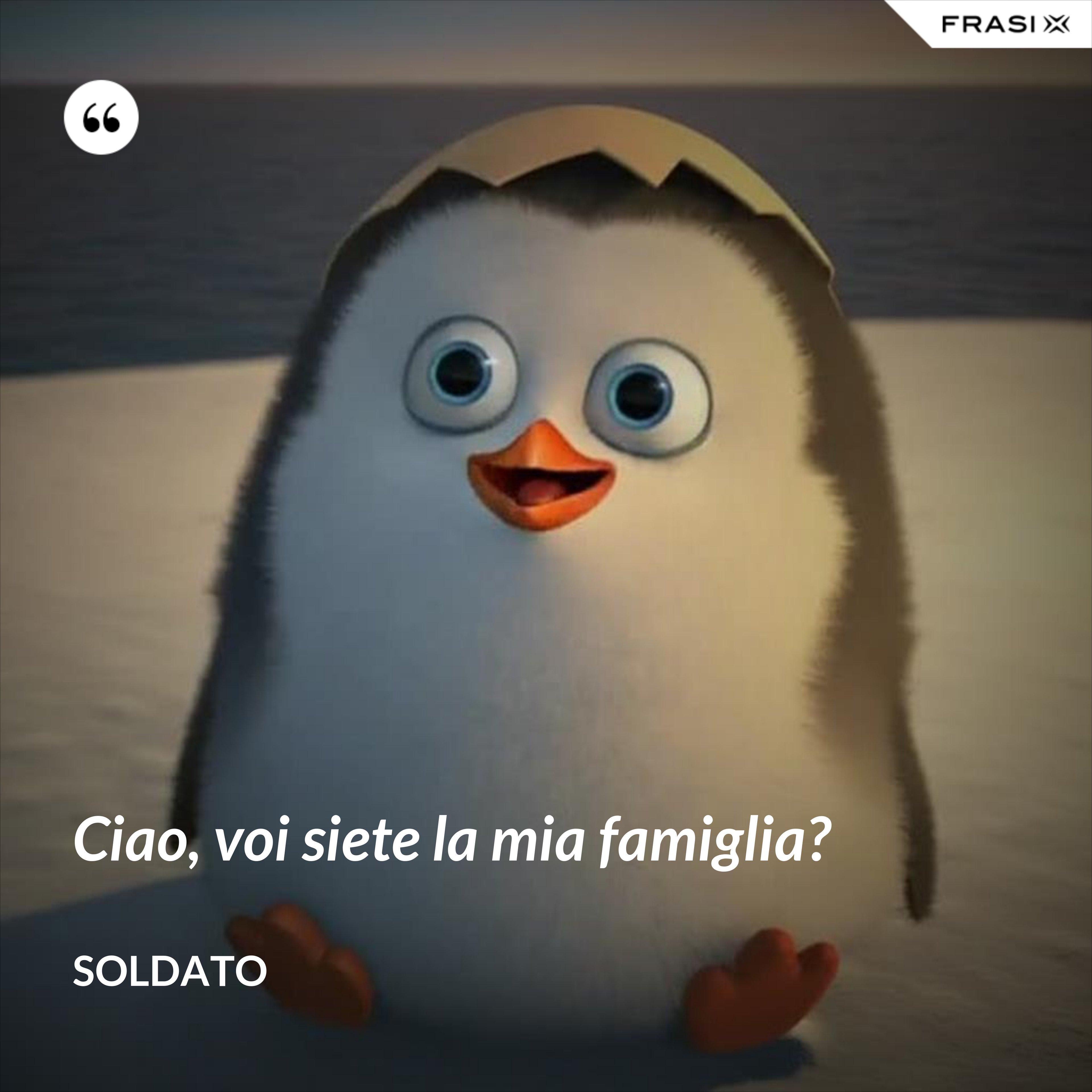 Ciao, voi siete la mia famiglia? - Soldato