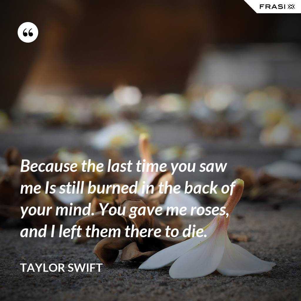 Because the last time you saw me Is still burned in the back of your mind. You gave me roses, and I left them there to die. - Taylor Swift