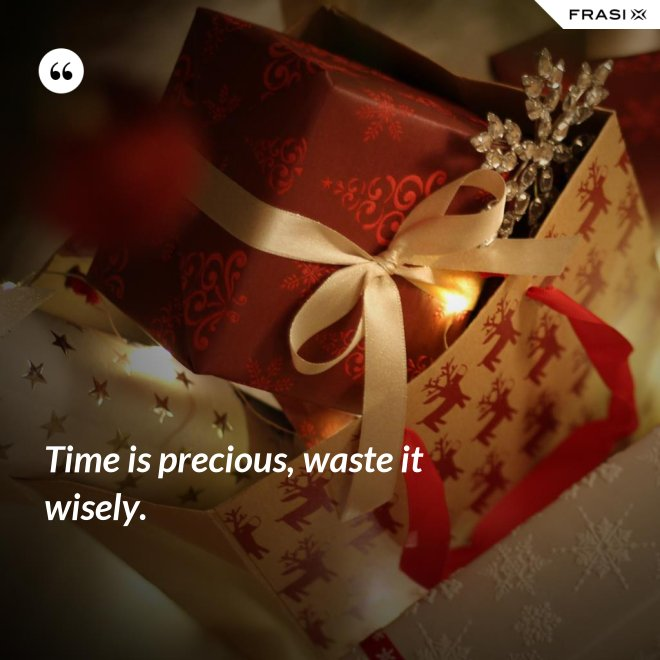 Time is precious, waste it wisely. - Anonimo