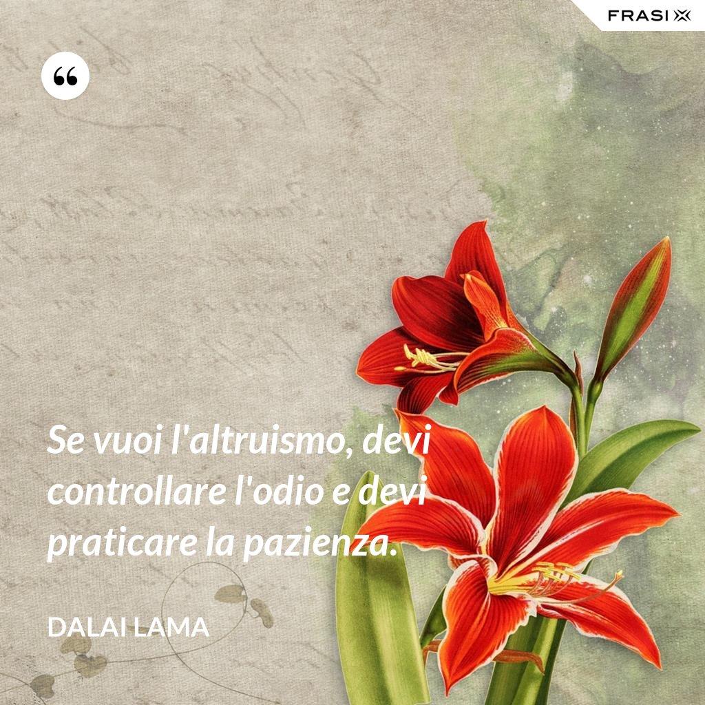 Se vuoi l'altruismo, devi controllare l'odio e devi praticare la pazienza. - Dalai Lama