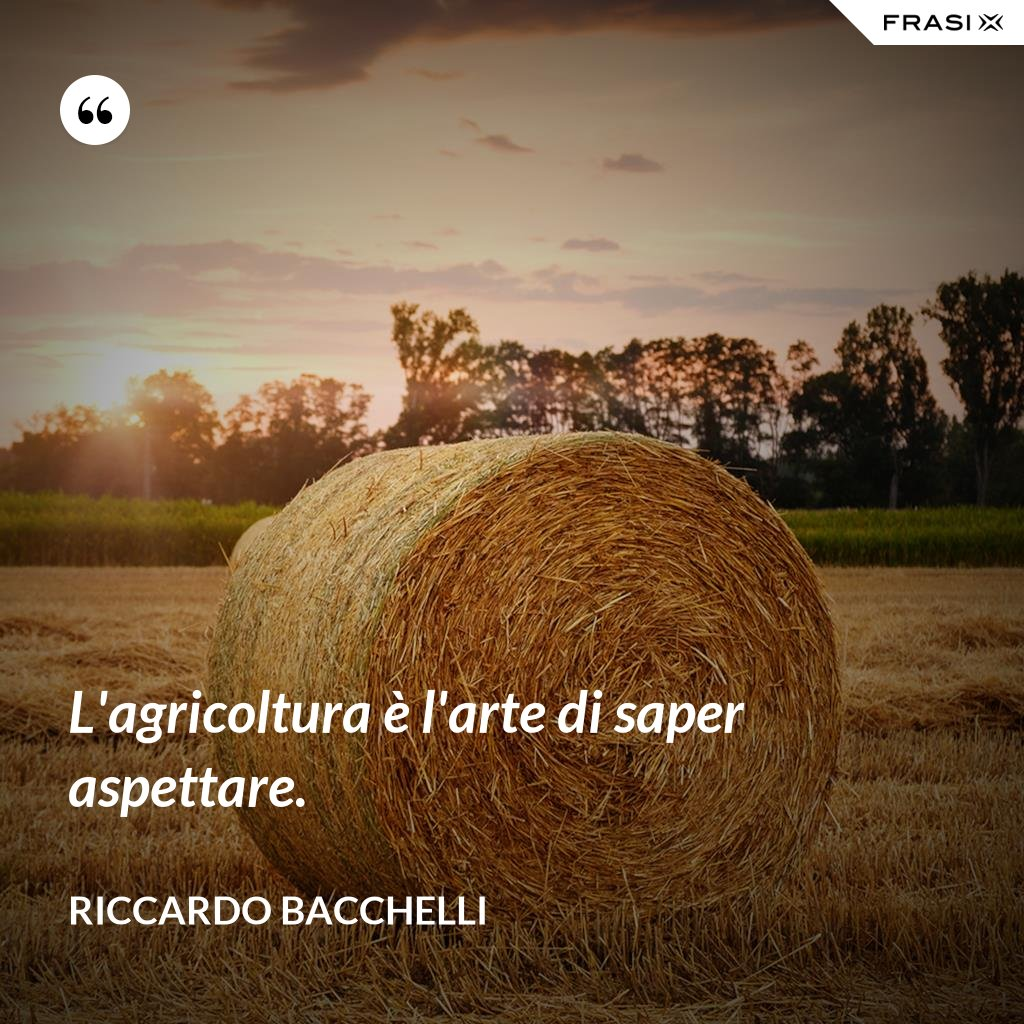 L'agricoltura è l'arte di saper aspettare. - Riccardo Bacchelli