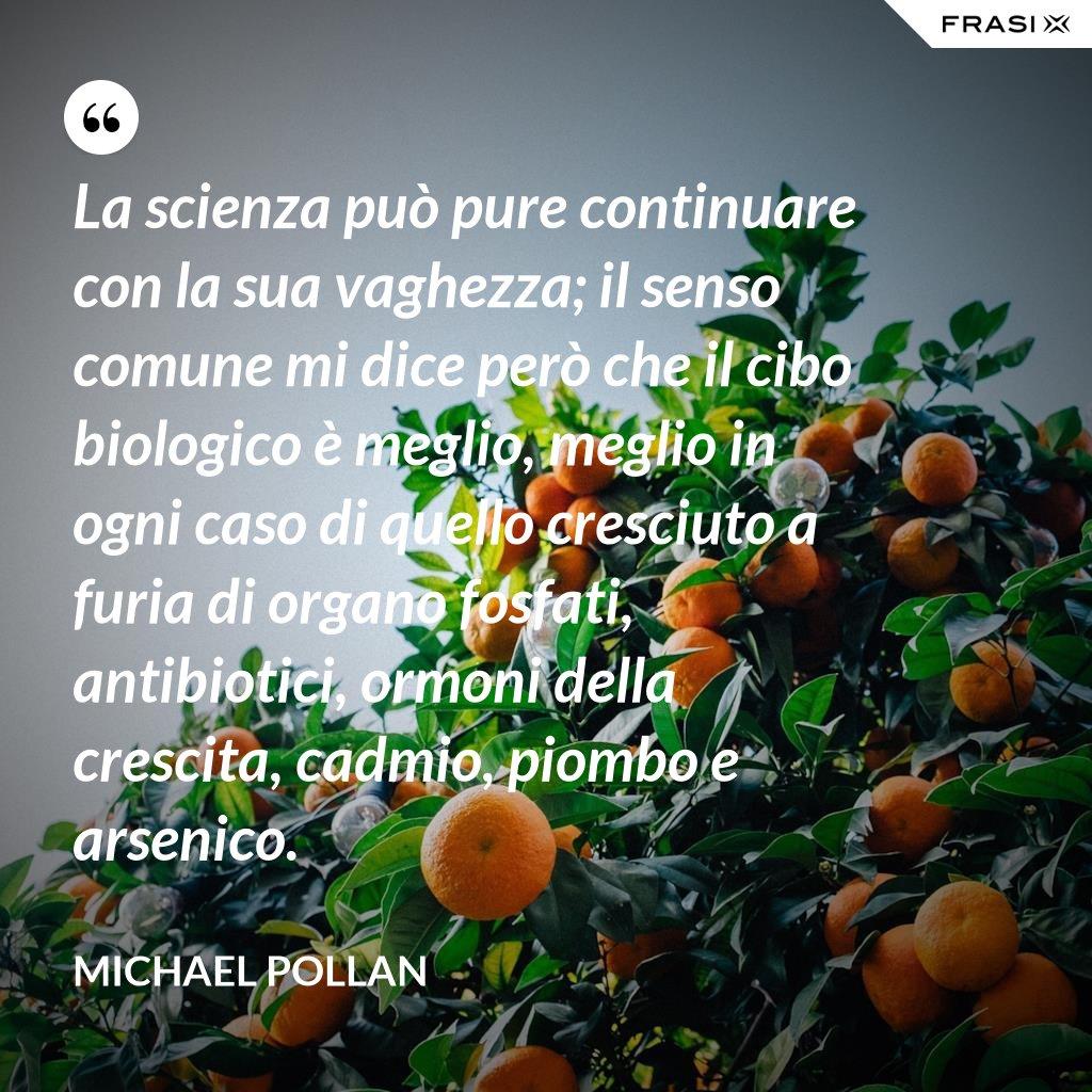 La scienza può pure continuare con la sua vaghezza; il senso comune mi dice però che il cibo biologico è meglio, meglio in ogni caso di quello cresciuto a furia di organo fosfati, antibiotici, ormoni della crescita, cadmio, piombo e arsenico. - Michael Pollan