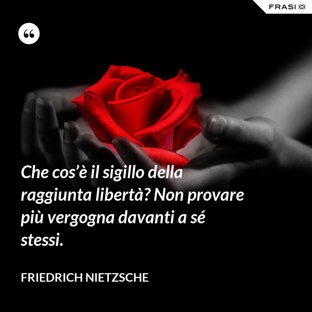 Che cos'è il sigillo della raggiunta libertà? Non provare più vergogna davanti a sé stessi. - Friedrich Nietzsche