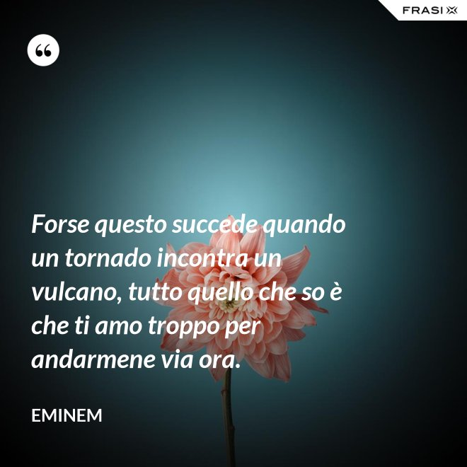 Forse questo succede quando un tornado incontra un vulcano, tutto quello che so è che ti amo troppo per andarmene via ora. - Eminem