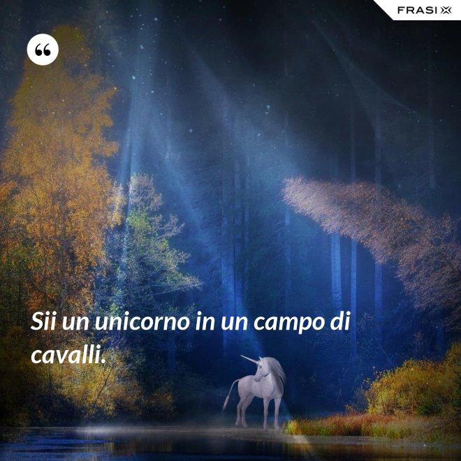 Sii un unicorno in un campo di cavalli. - Anonimo
