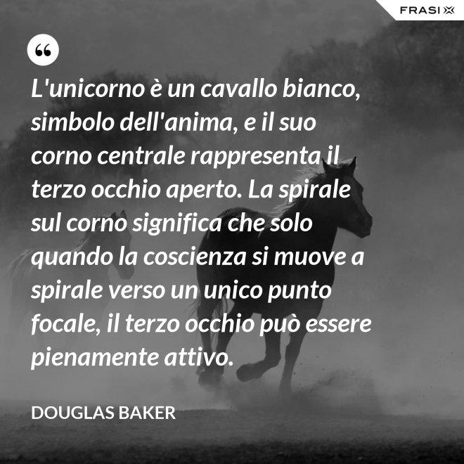 L'unicorno è un cavallo bianco, simbolo dell'anima, e il suo corno centrale rappresenta il terzo occhio aperto. La spirale sul corno significa che solo quando la coscienza si muove a spirale verso un unico punto focale, il terzo occhio può essere pienamente attivo. - Douglas Baker