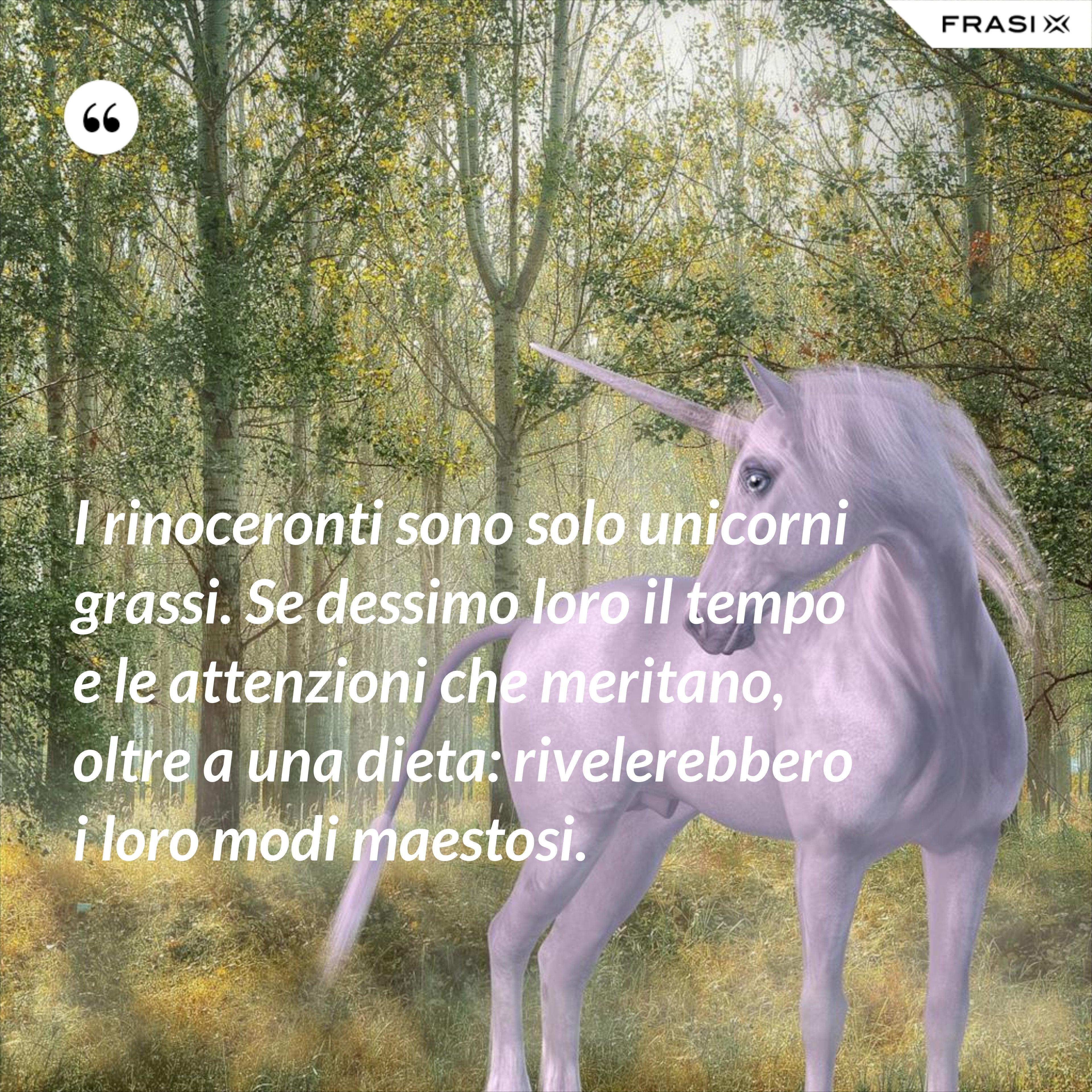 I rinoceronti sono solo unicorni grassi. Se dessimo loro il tempo e le attenzioni che meritano, oltre a una dieta: rivelerebbero i loro modi maestosi. - Anonimo