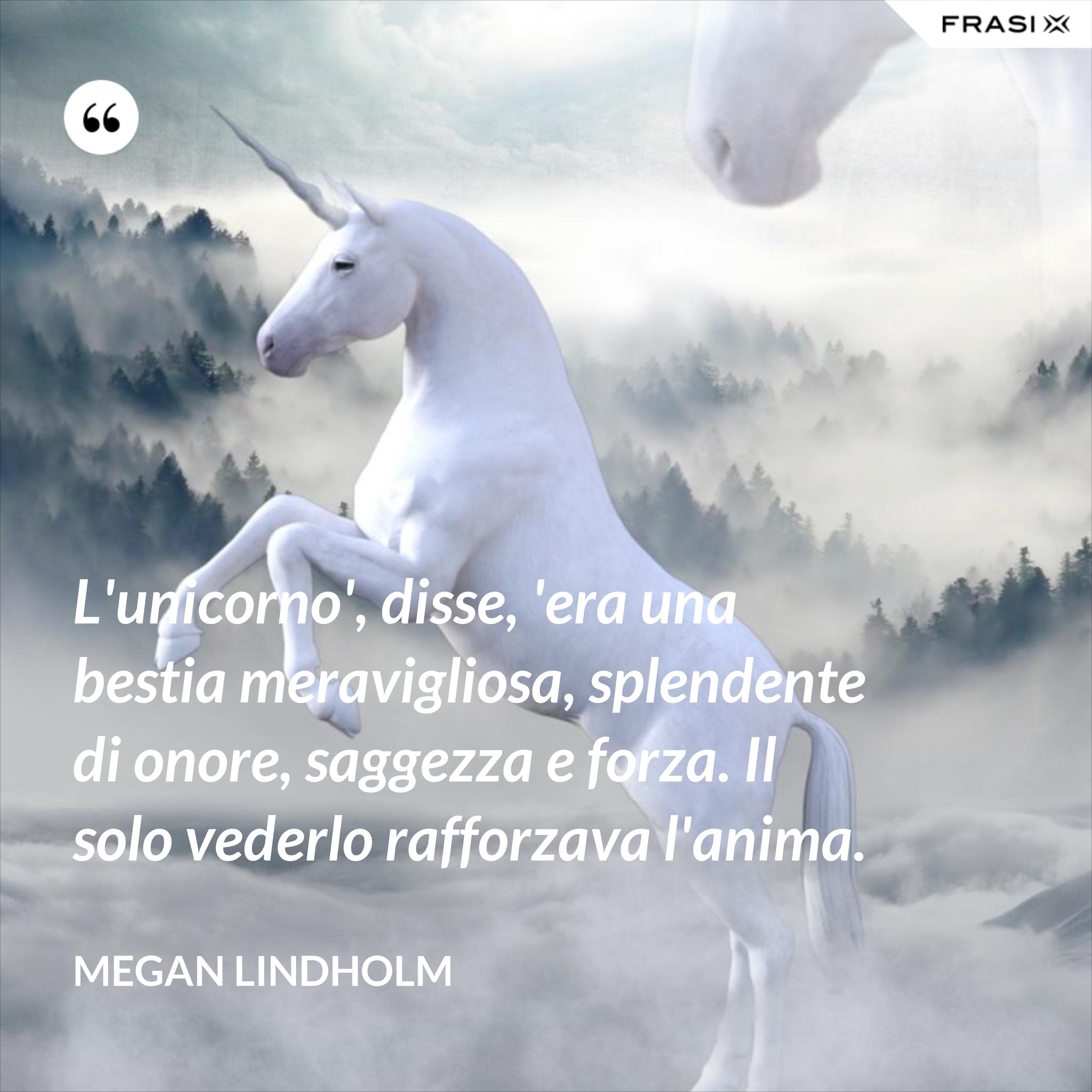 L'unicorno', disse, 'era una bestia meravigliosa, splendente di onore, saggezza e forza. Il solo vederlo rafforzava l'anima. - Megan Lindholm