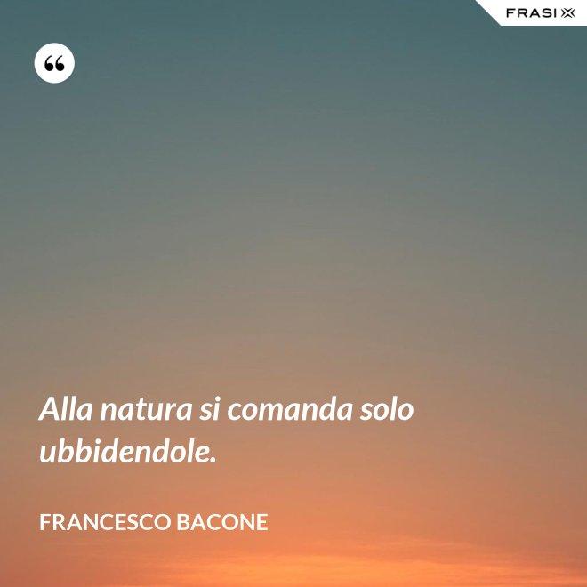 Alla natura si comanda solo ubbidendole. - Francesco Bacone