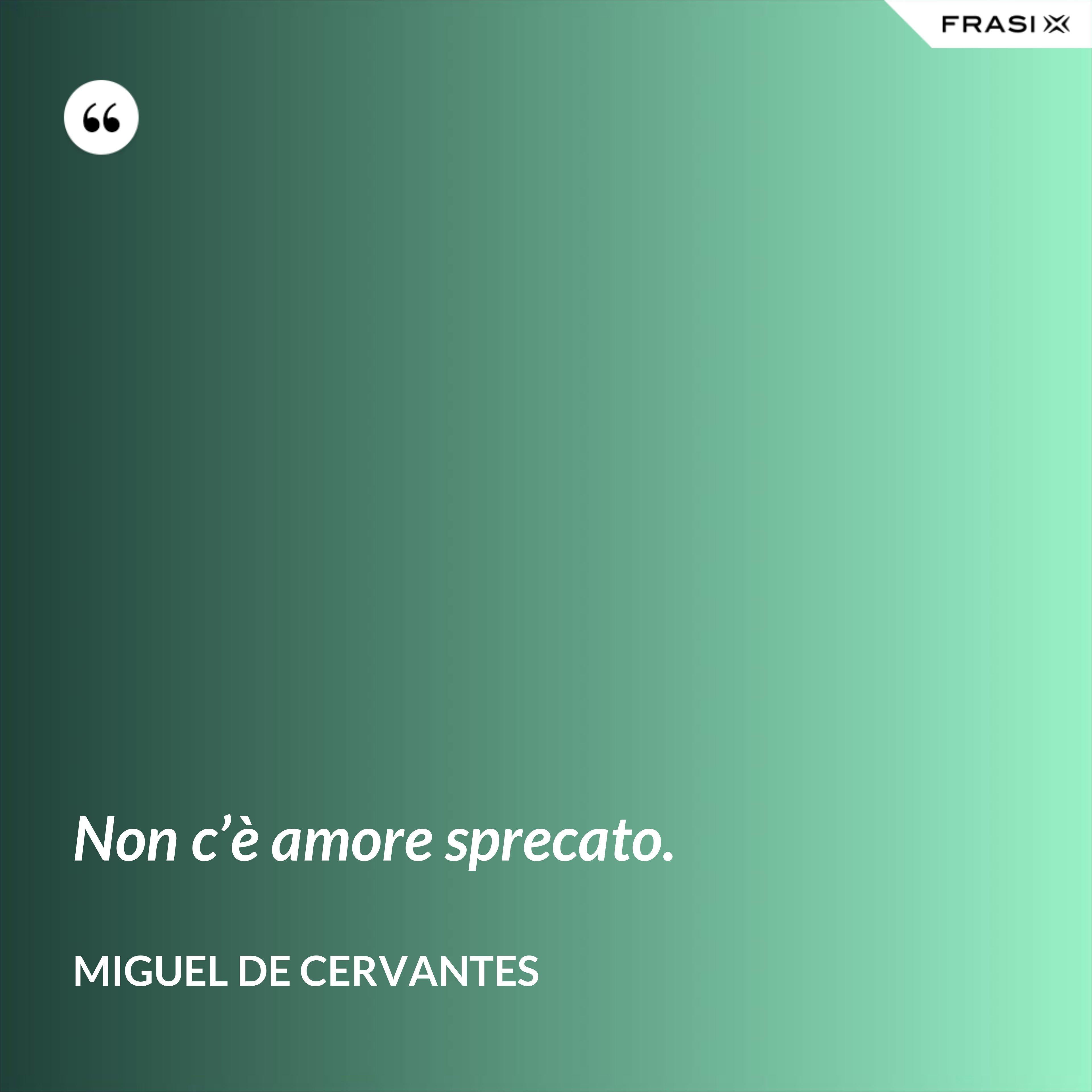 Non c'è amore sprecato. - Miguel de Cervantes