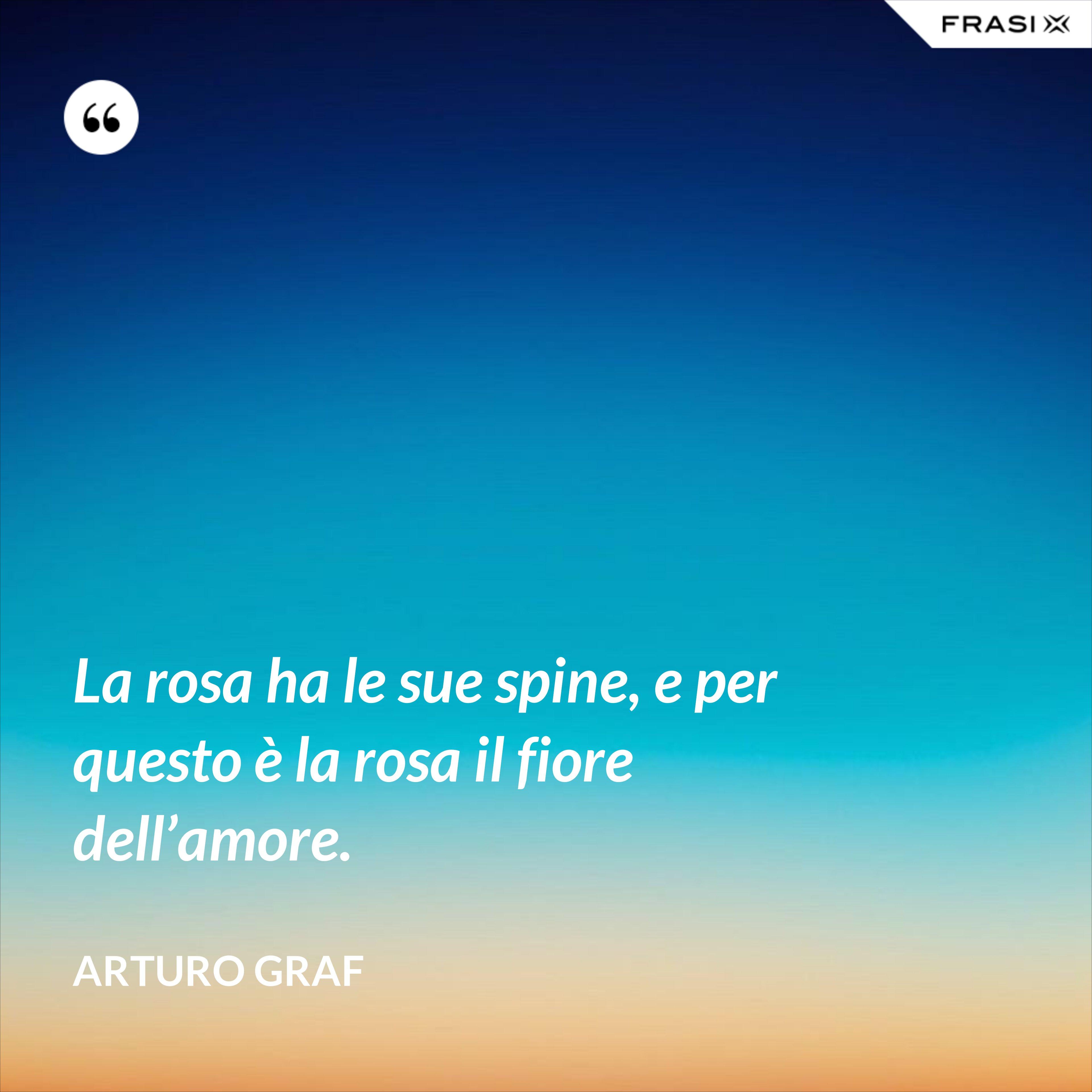 La rosa ha le sue spine, e per questo è la rosa il fiore dell'amore. - Arturo Graf