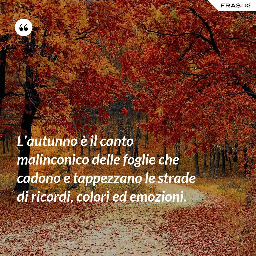 L'autunno è il canto malinconico delle foglie che cadono e tappezzano le strade di ricordi, colori ed emozioni. - Anonimo