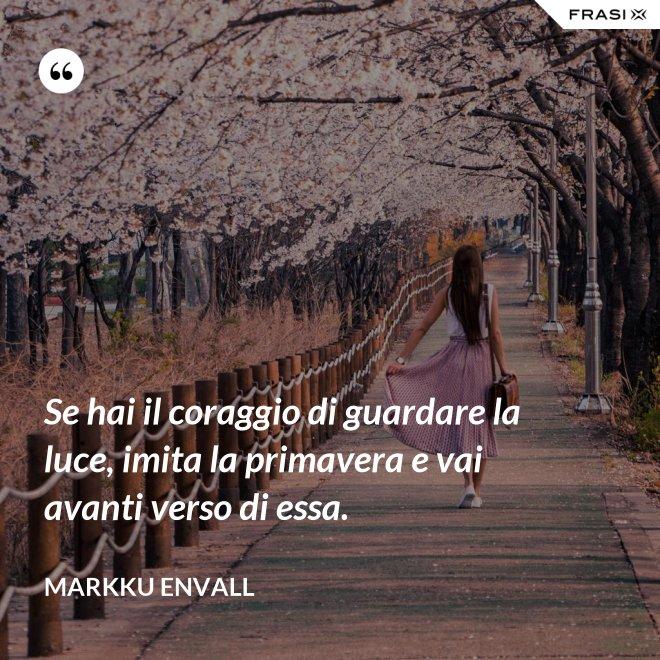 Se hai il coraggio di guardare la luce, imita la primavera e vai avanti verso di essa. - MArkku Envall