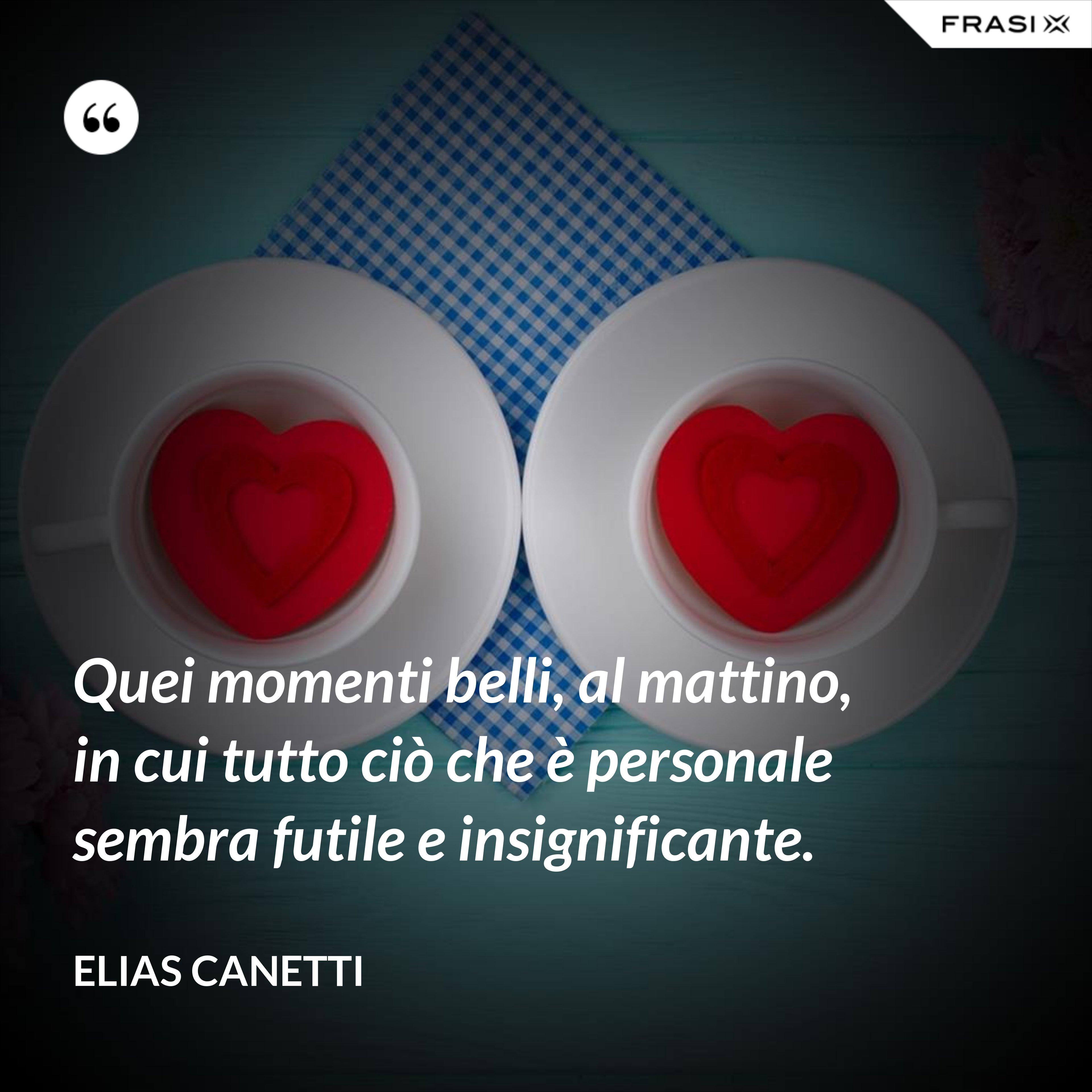 Quei momenti belli, al mattino, in cui tutto ciò che è personale sembra futile e insignificante. - Elias Canetti