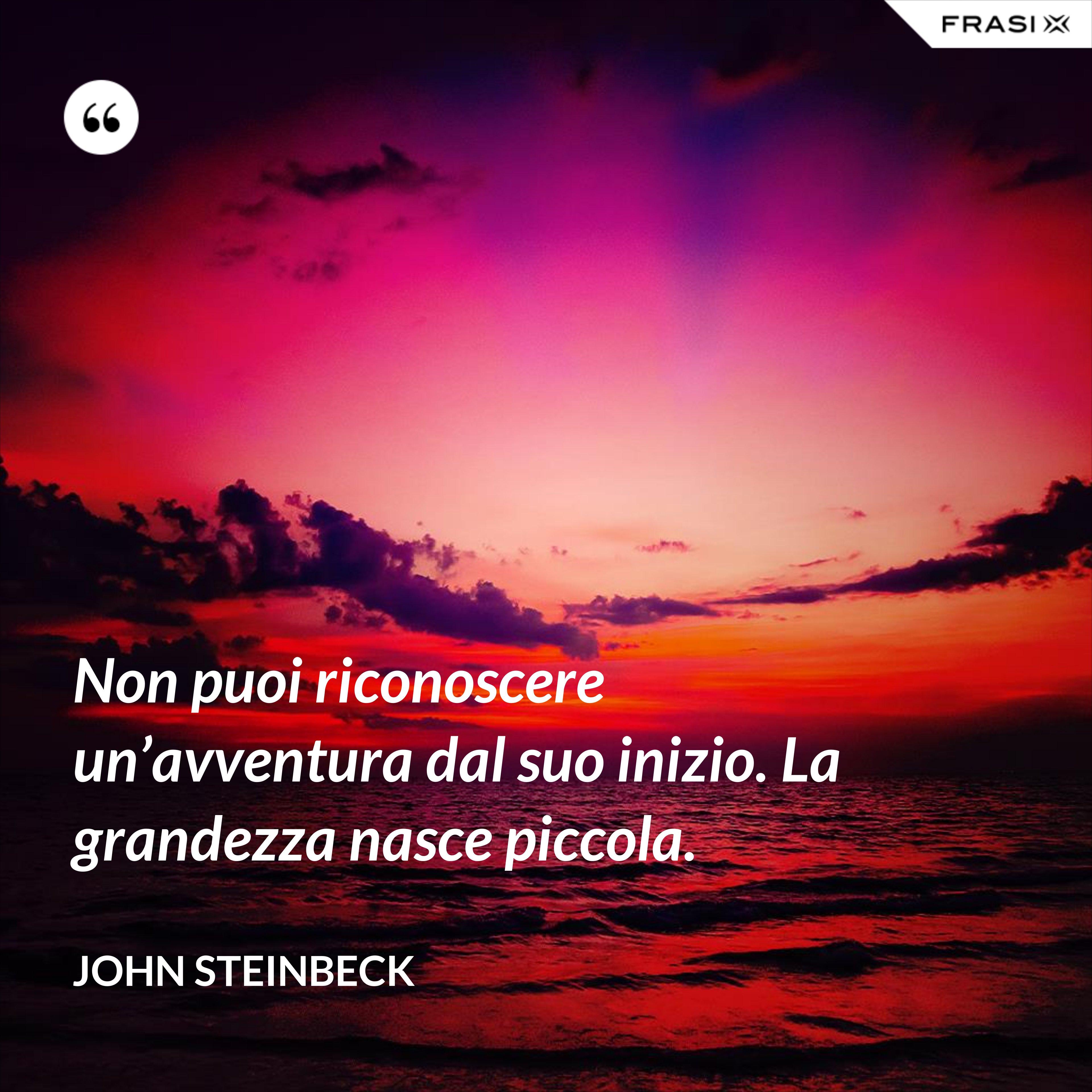 Non puoi riconoscere un'avventura dal suo inizio. La grandezza nasce piccola. - John Steinbeck
