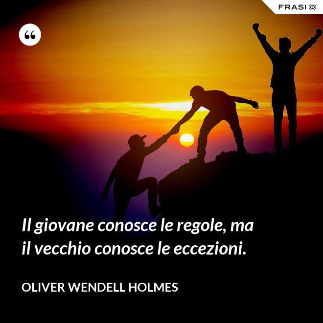 Il giovane conosce le regole, ma il vecchio conosce le eccezioni. - Oliver Wendell Holmes