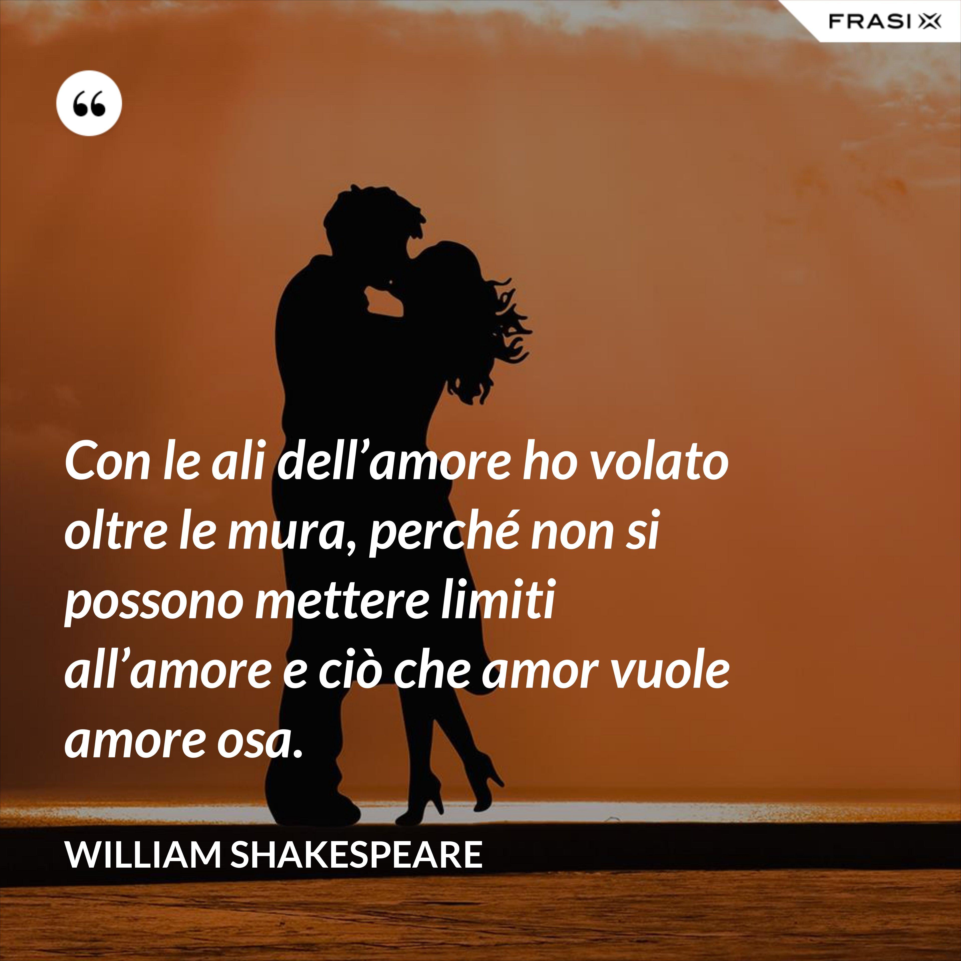Con le ali dell'amore ho volato oltre le mura, perché non si possono mettere limiti all'amore e ciò che amor vuole amore osa. - William Shakespeare