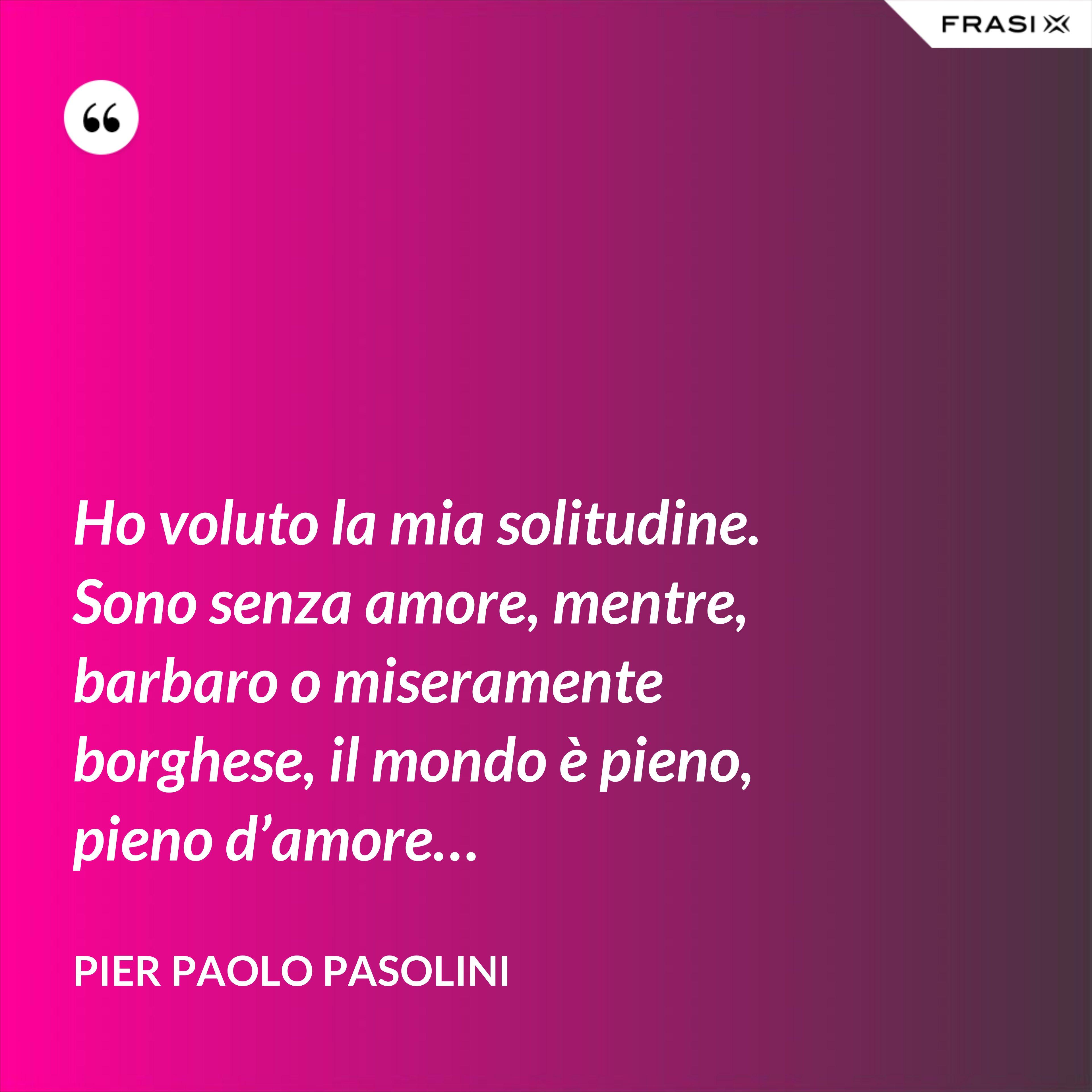 Ho voluto la mia solitudine. Sono senza amore, mentre, barbaro o miseramente borghese, il mondo è pieno, pieno d'amore… - Pier Paolo Pasolini