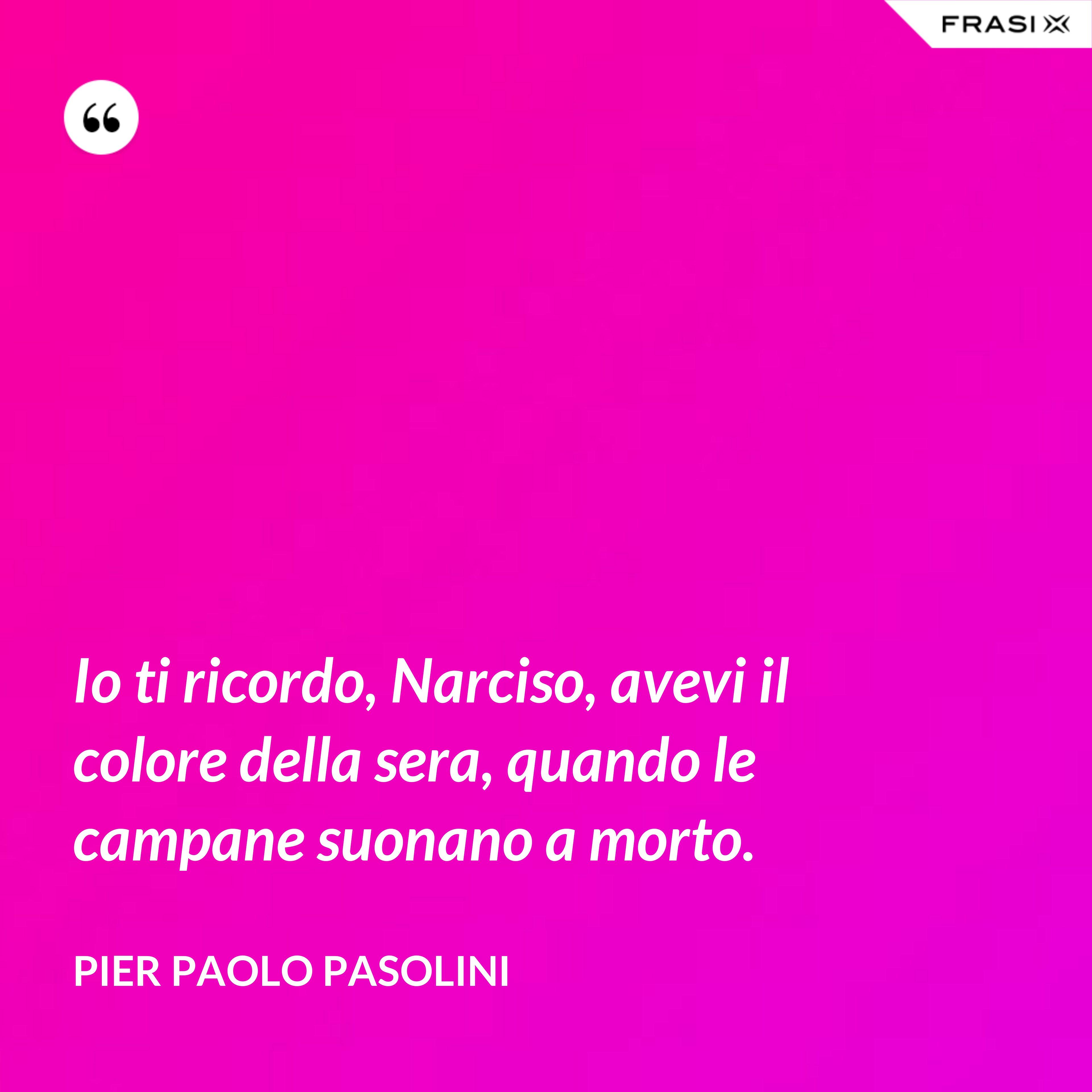 Io ti ricordo, Narciso, avevi il colore della sera, quando le campane suonano a morto. - Pier Paolo Pasolini