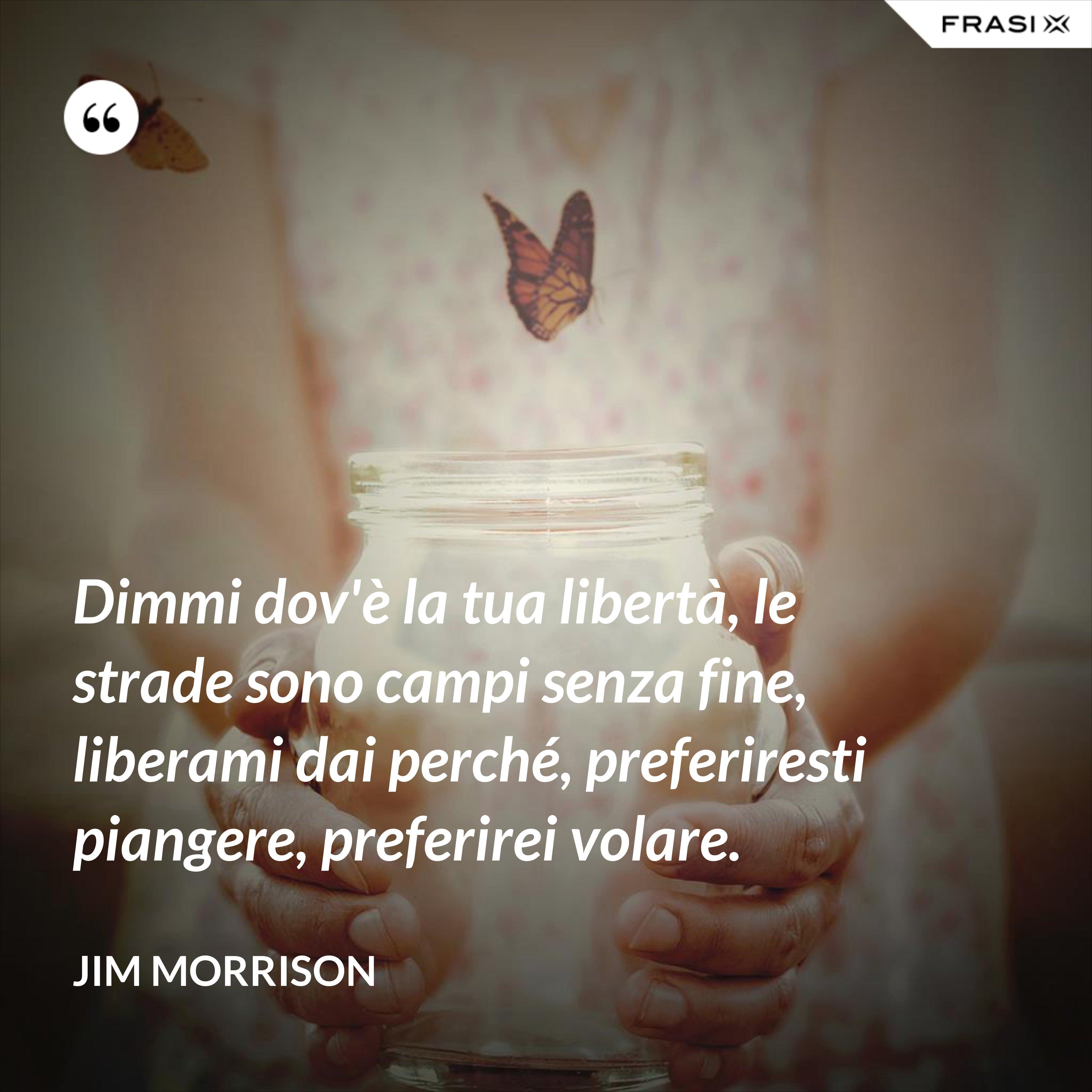 Dimmi dov'è la tua libertà, le strade sono campi senza fine, liberami dai perché, preferiresti piangere, preferirei volare. - Jim Morrison