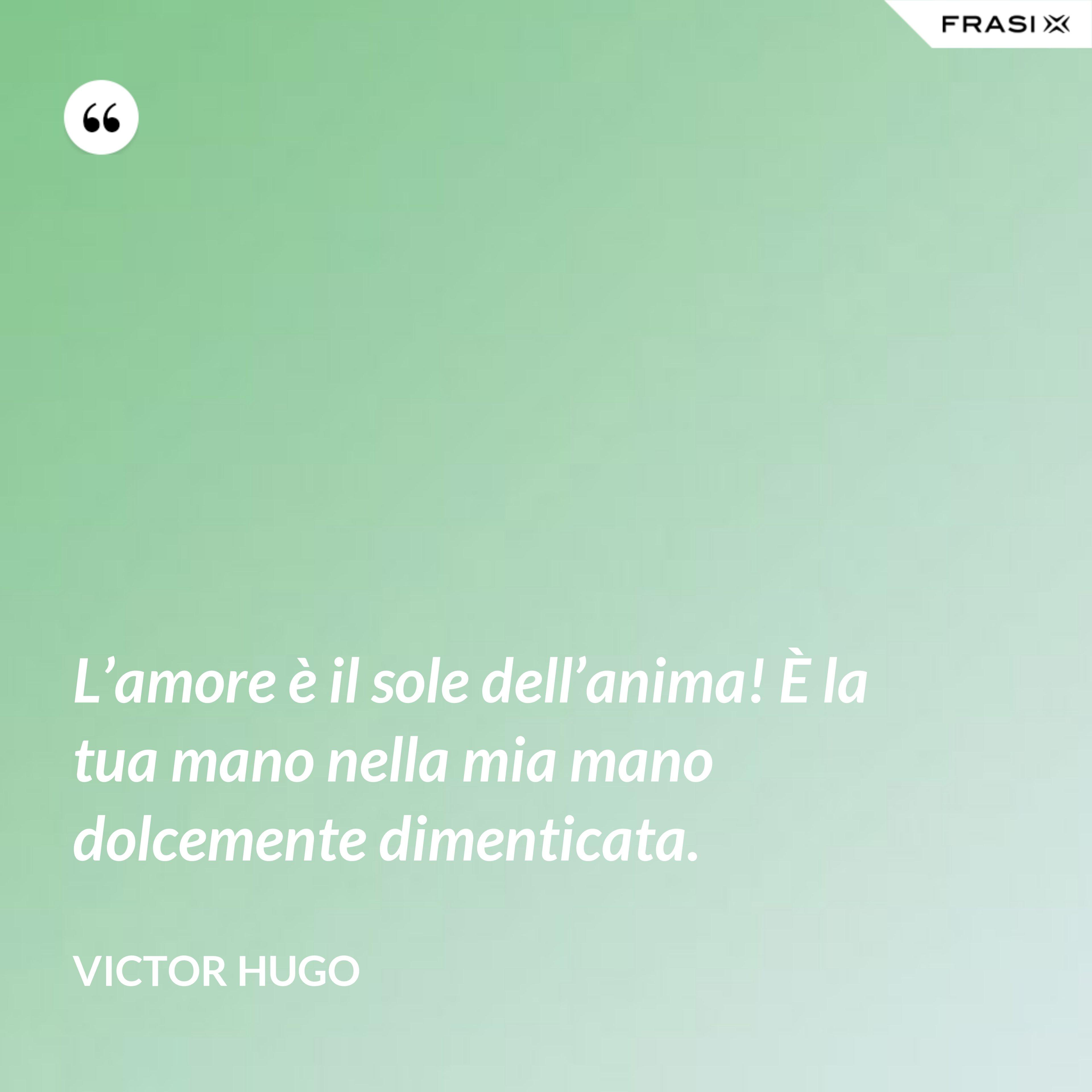 L'amore è il sole dell'anima! È la tua mano nella mia mano dolcemente dimenticata. - Victor Hugo
