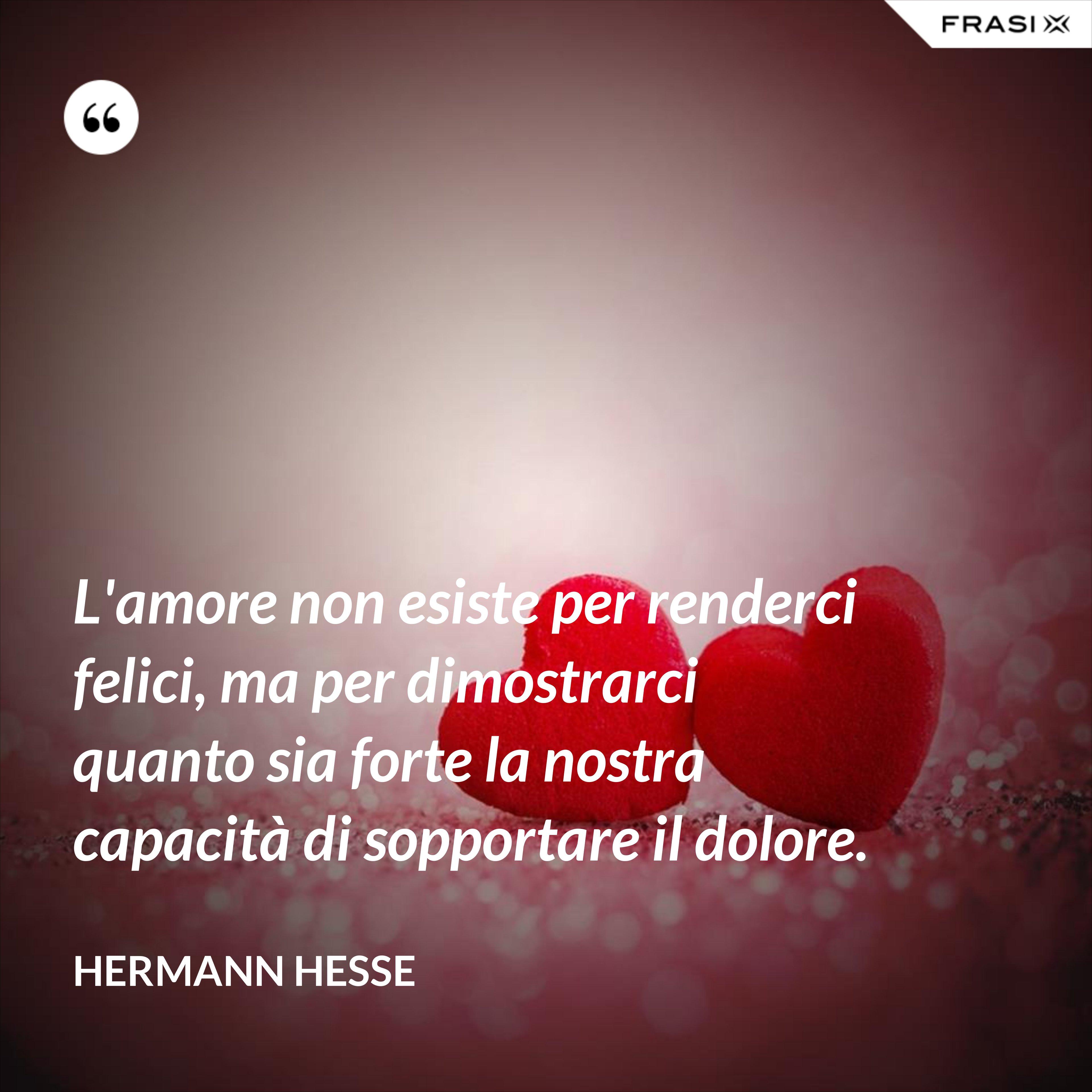 L'amore non esiste per renderci felici, ma per dimostrarci quanto sia forte la nostra capacità di sopportare il dolore. - Hermann Hesse