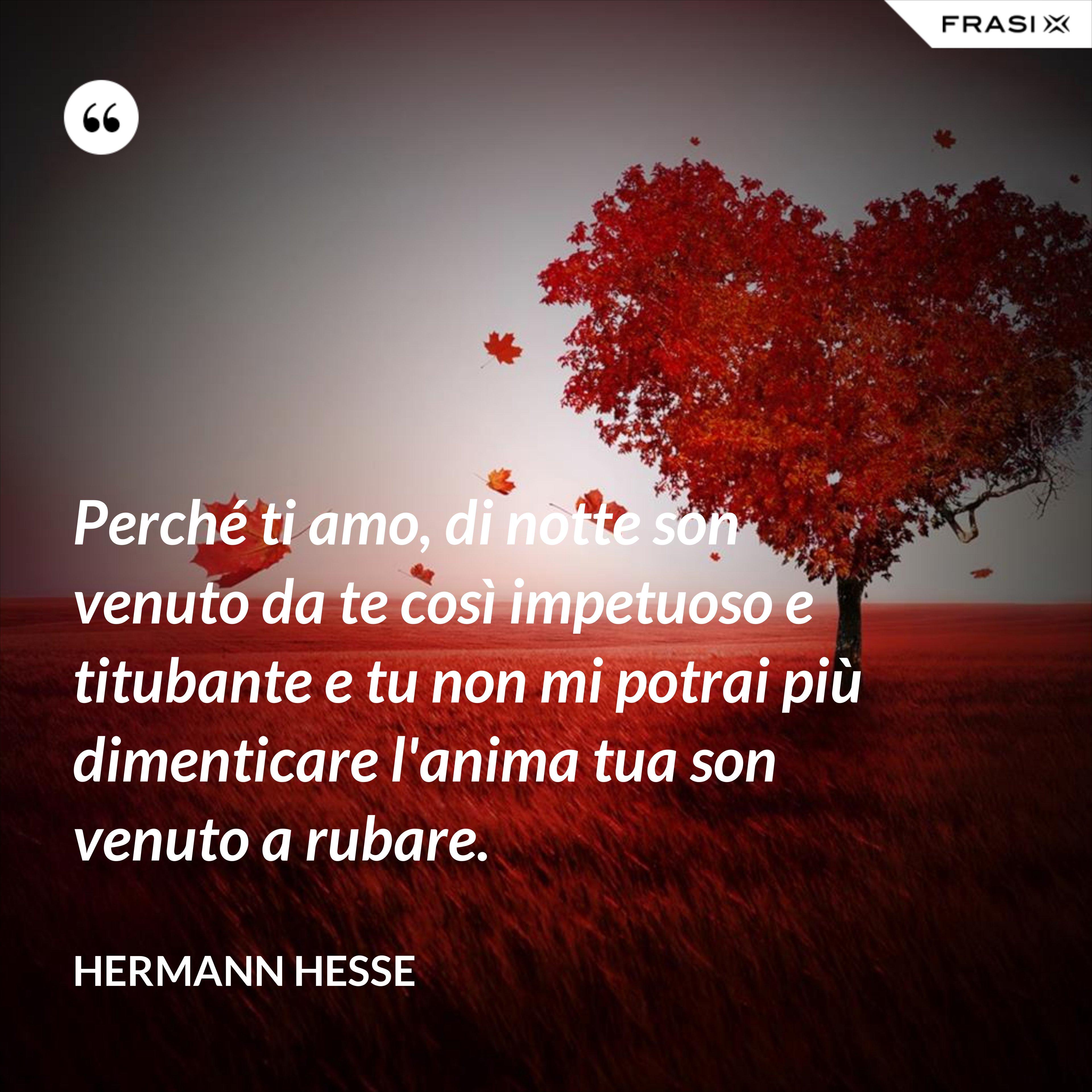 Perché ti amo, di notte son venuto da te così impetuoso e titubante e tu non mi potrai più dimenticare l'anima tua son venuto a rubare. - Hermann Hesse