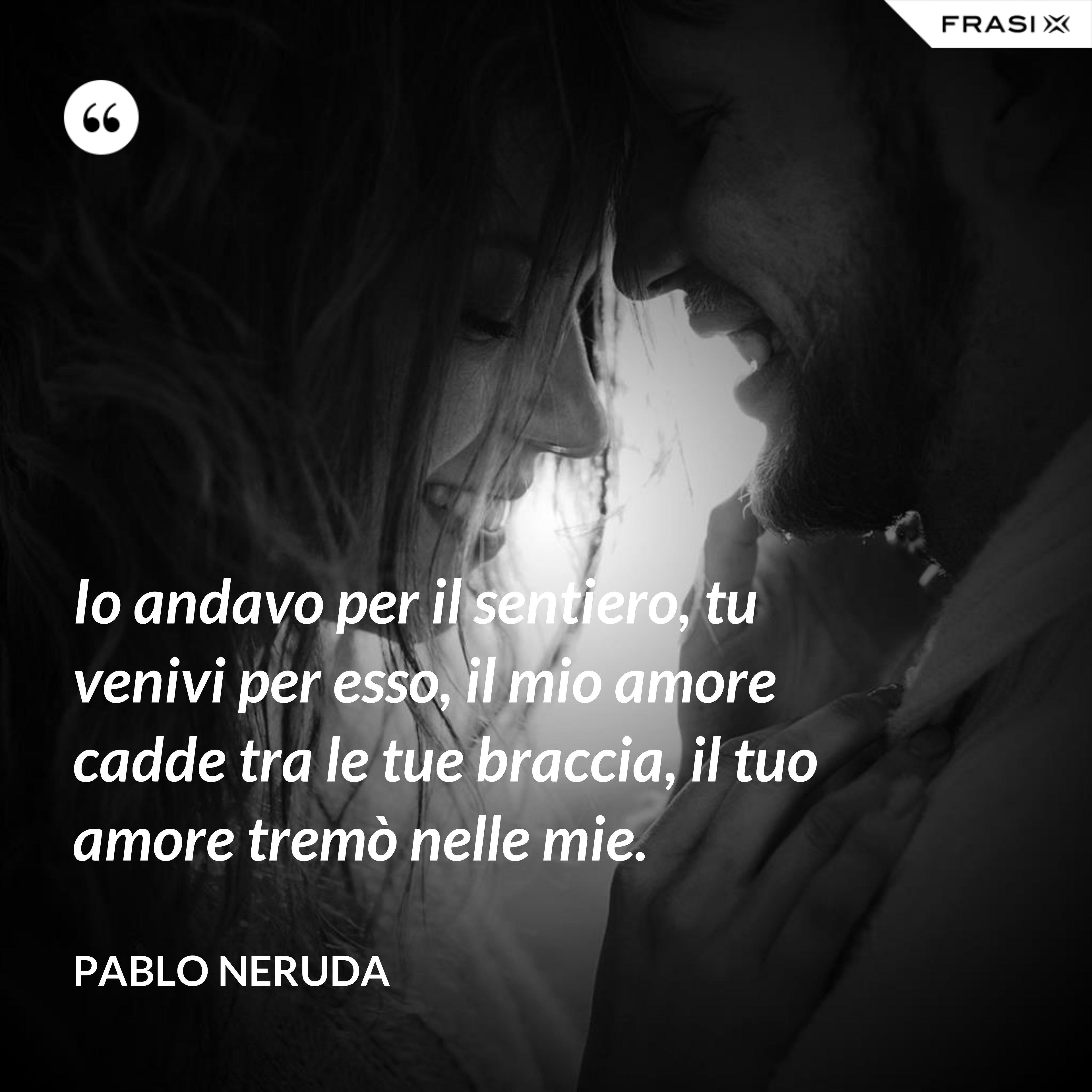 Io andavo per il sentiero, tu venivi per esso, il mio amore cadde tra le tue braccia, il tuo amore tremò nelle mie. - Pablo Neruda