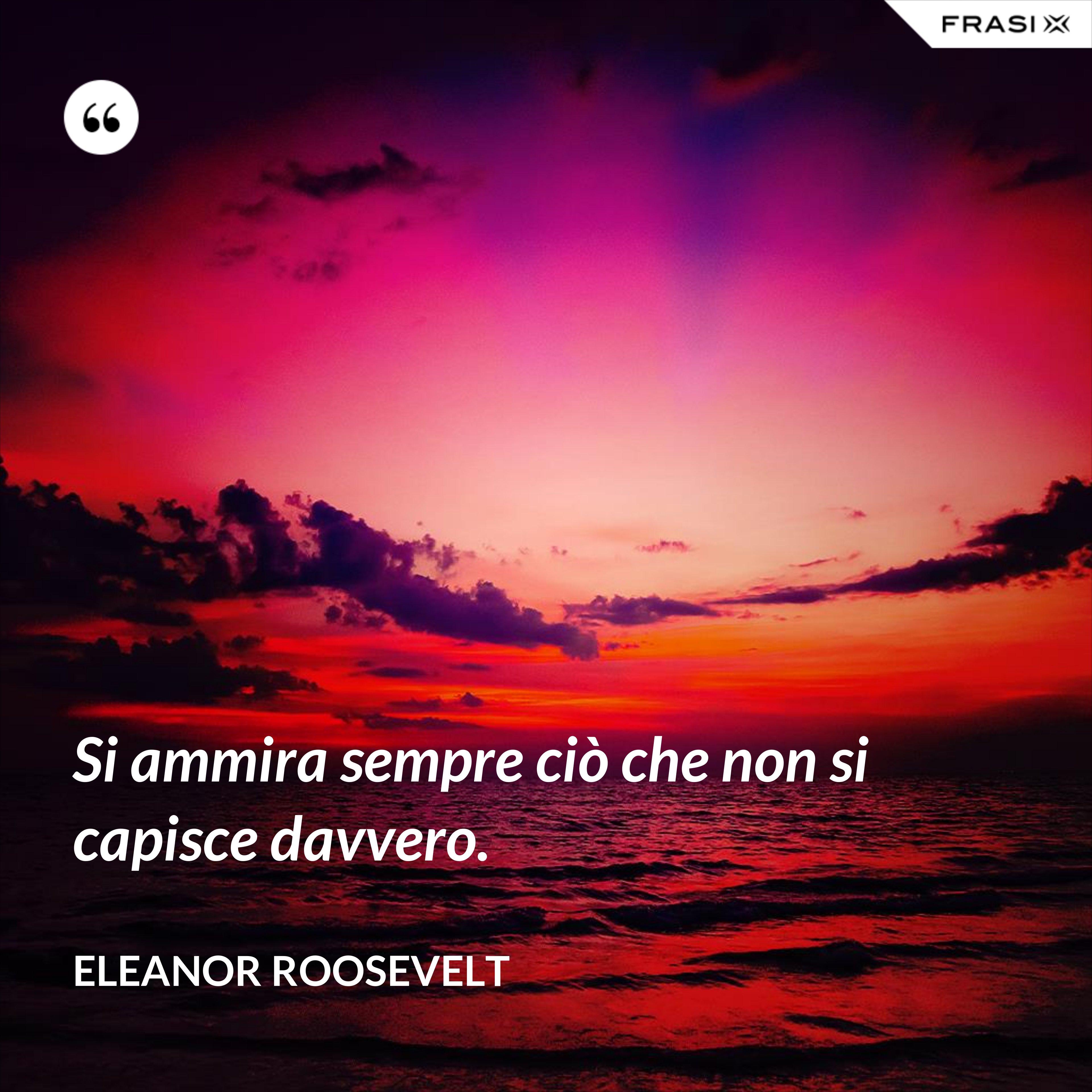 Si ammira sempre ciò che non si capisce davvero. - Eleanor Roosevelt
