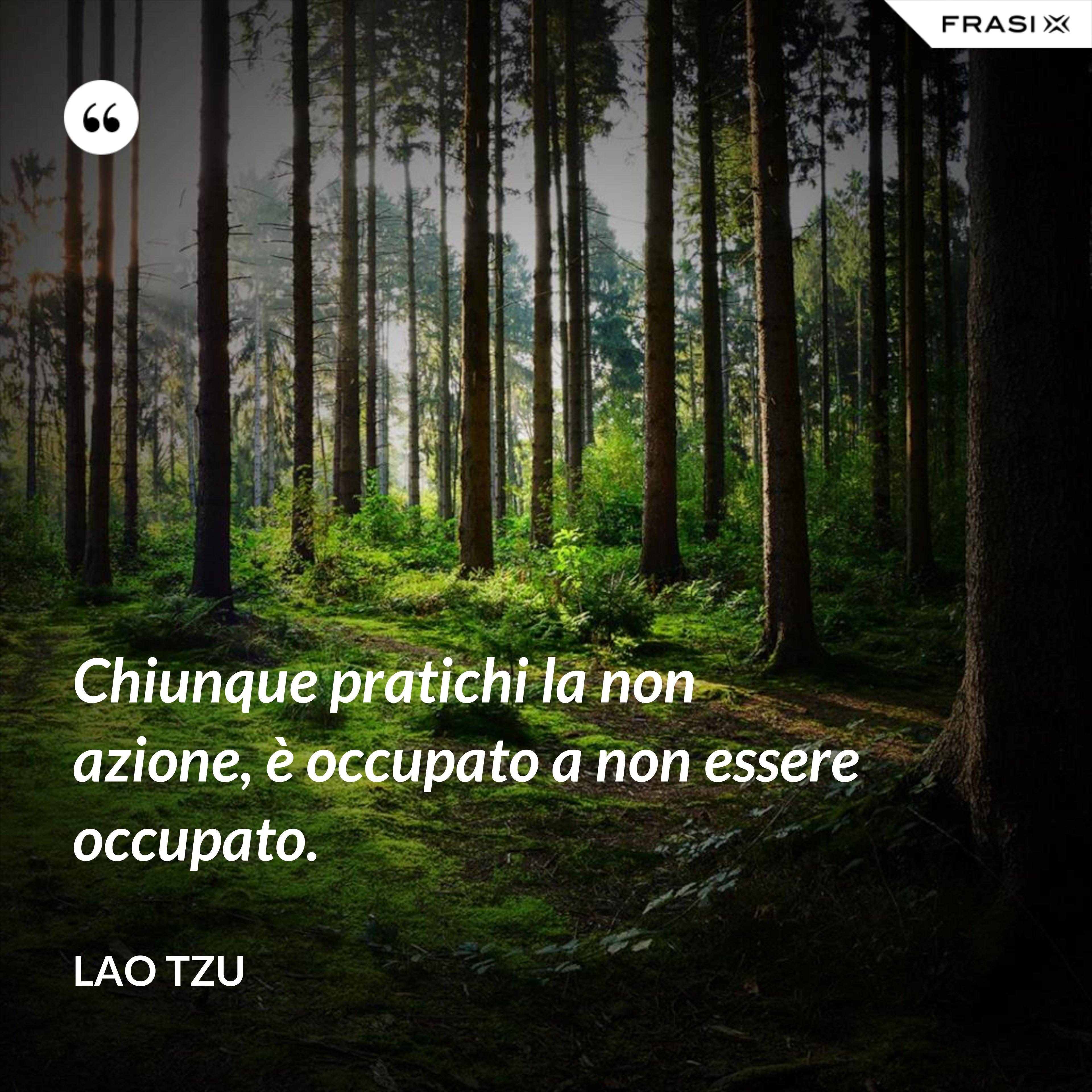 Chiunque pratichi la non azione, è occupato a non essere occupato. - Lao Tzu