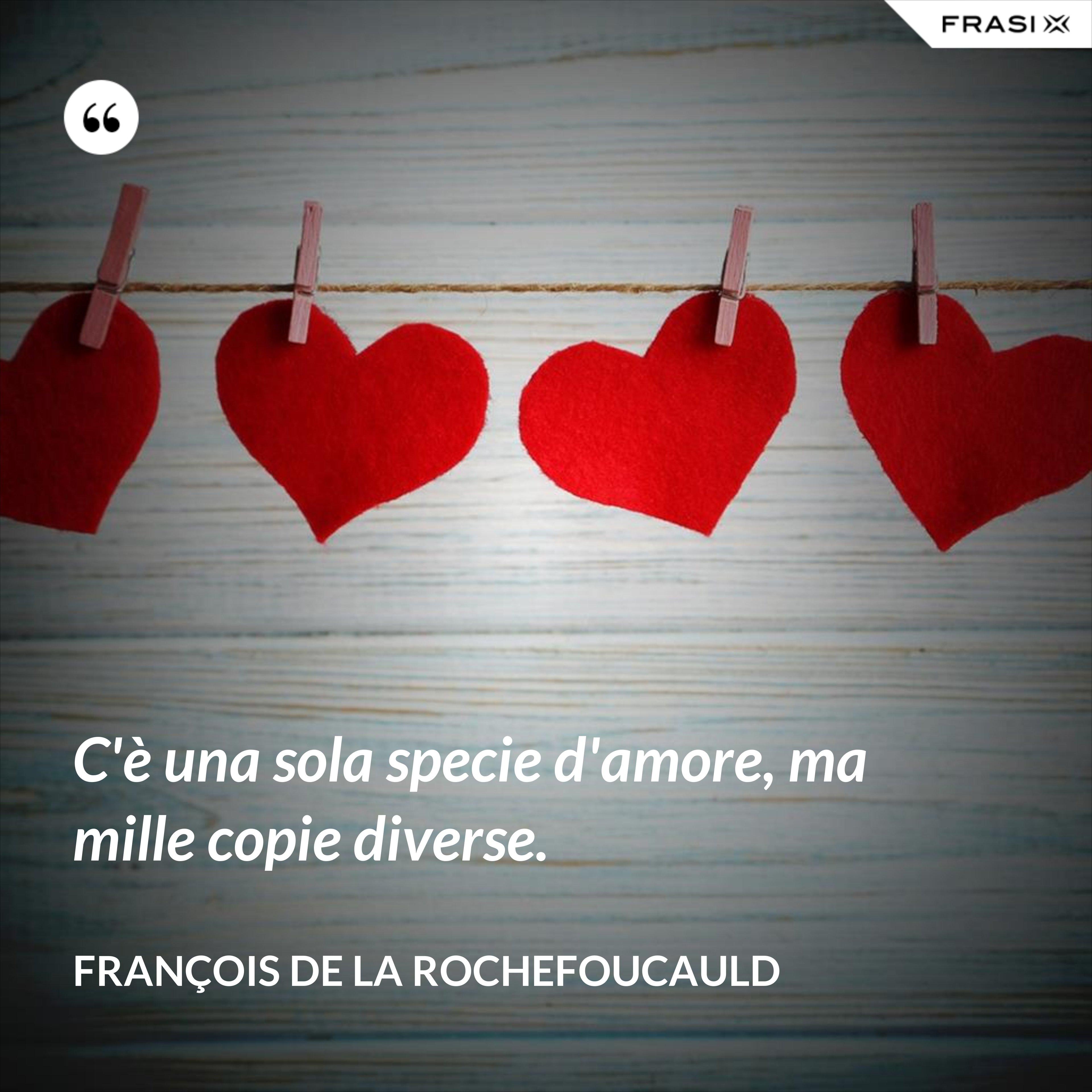 C'è una sola specie d'amore, ma mille copie diverse. - François de La Rochefoucauld