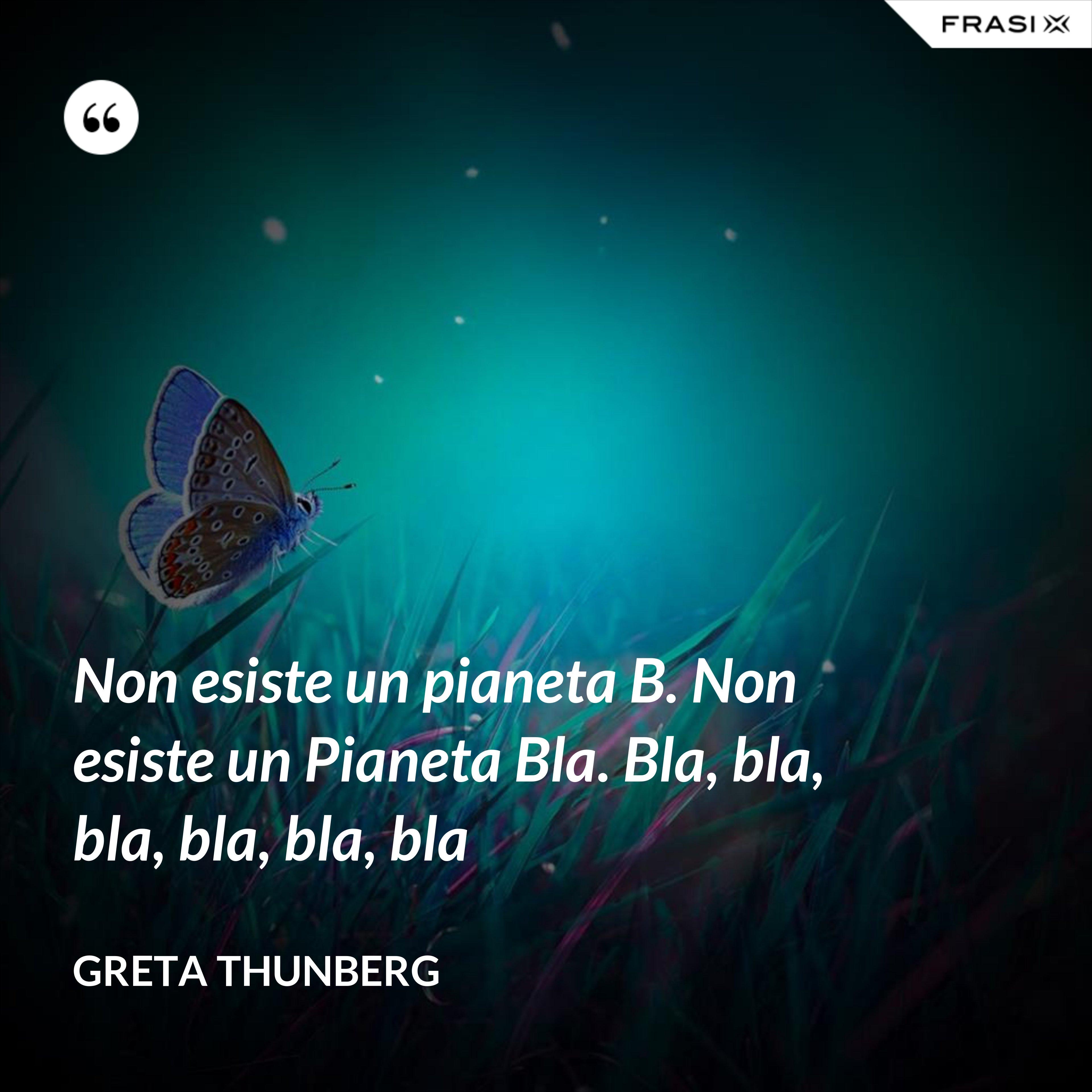 Non esiste un pianeta B. Non esiste un Pianeta Bla. Bla, bla, bla, bla, bla, bla - Greta Thunberg