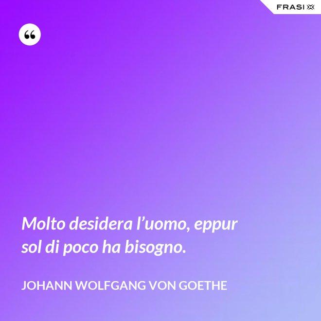 Molto desidera l'uomo, eppur sol di poco ha bisogno. - Johann Wolfgang von Goethe